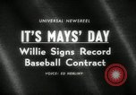 Image of Willie Mays record-setting baseball contract San Francisco California USA, 1966, second 5 stock footage video 65675029934