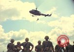 Image of helicopter rappel Ankhe South Vietnam, 1966, second 7 stock footage video 65675030386