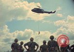Image of helicopter rappel Ankhe South Vietnam, 1966, second 12 stock footage video 65675030386