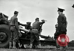 Image of Visiting Latin American officers learn about 155mm howitzer Fort Sill Oklahoma USA, 1942, second 3 stock footage video 65675030493