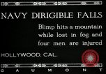Image of damaged Navy blimp Hollywood California Laural Canyon USA, 1920, second 2 stock footage video 65675030509