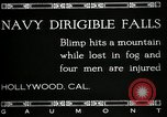 Image of damaged Navy blimp Hollywood California Laural Canyon USA, 1920, second 3 stock footage video 65675030509