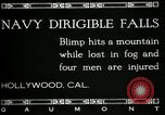 Image of damaged Navy blimp Hollywood California Laural Canyon USA, 1920, second 6 stock footage video 65675030509