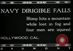 Image of damaged Navy blimp Hollywood California Laural Canyon USA, 1920, second 12 stock footage video 65675030509