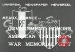 Image of U.S. World War I memorial monument presented to France Meaux France, 1932, second 1 stock footage video 65675030530