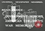 Image of U.S. World War I memorial monument presented to France Meaux France, 1932, second 4 stock footage video 65675030530