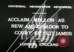Image of Andrew W Mellon ambassador London England United Kingdom, 1932, second 2 stock footage video 65675030577