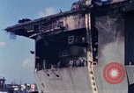 Image of USS Enterprise docked after fire Pearl Harbor Hawaii USA, 1969, second 1 stock footage video 65675031057