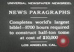 Image of largest Bible Los Angeles California USA, 1930, second 5 stock footage video 65675032148