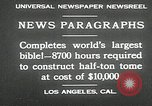 Image of largest Bible Los Angeles California USA, 1930, second 6 stock footage video 65675032148
