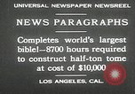 Image of largest Bible Los Angeles California USA, 1930, second 7 stock footage video 65675032148