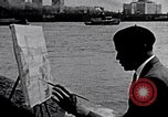 Image of painting of Brooklyn bridge New York City USA, 1937, second 3 stock footage video 65675032300