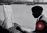 Image of painting of Brooklyn bridge New York City USA, 1937, second 6 stock footage video 65675032300