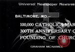 Image of Catholics Baltimore Maryland USA, 1934, second 1 stock footage video 65675032724