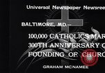 Image of Catholics Baltimore Maryland USA, 1934, second 10 stock footage video 65675032724