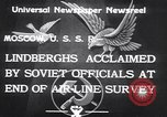 Image of Colonel Charles Augustus Lindberh Moscow Russia Soviet Union, 1933, second 8 stock footage video 65675032948