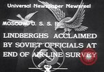 Image of Colonel Charles Augustus Lindberh Moscow Russia Soviet Union, 1933, second 10 stock footage video 65675032948