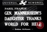 Image of Miss Mannerheim Paris France, 1940, second 1 stock footage video 65675033938