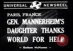 Image of Miss Mannerheim Paris France, 1940, second 3 stock footage video 65675033938