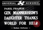 Image of Miss Mannerheim Paris France, 1940, second 6 stock footage video 65675033938