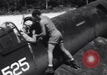Image of Marine Aircraft Group 11 F4U Corsairs arrive back from mission Espiritu Santo New Hebrides Islands, 1944, second 10 stock footage video 65675034617