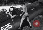 Image of Marine Aircraft Group 11 F4U Corsairs arrive back from mission Espiritu Santo New Hebrides Islands, 1944, second 11 stock footage video 65675034617