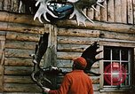 Image of Moose antlers being fastened to a log cabin Alaska USA, 1954, second 10 stock footage video 65675034930