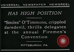 Image of disabled diver 'Smiles' O' Timmons Pittsburgh Pennsylvania USA, 1929, second 2 stock footage video 65675035085