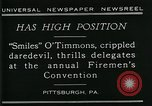 Image of disabled diver 'Smiles' O' Timmons Pittsburgh Pennsylvania USA, 1929, second 4 stock footage video 65675035085