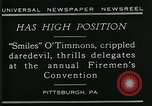Image of disabled diver 'Smiles' O' Timmons Pittsburgh Pennsylvania USA, 1929, second 5 stock footage video 65675035085