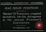 Image of disabled diver 'Smiles' O' Timmons Pittsburgh Pennsylvania USA, 1929, second 6 stock footage video 65675035085
