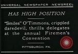 Image of disabled diver 'Smiles' O' Timmons Pittsburgh Pennsylvania USA, 1929, second 7 stock footage video 65675035085