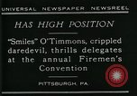 Image of disabled diver 'Smiles' O' Timmons Pittsburgh Pennsylvania USA, 1929, second 9 stock footage video 65675035085
