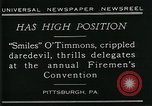 Image of disabled diver 'Smiles' O' Timmons Pittsburgh Pennsylvania USA, 1929, second 11 stock footage video 65675035085