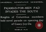 Image of Men wearing pajamas march in Casey Joy Da parade Mobile Alabama USA, 1929, second 3 stock footage video 65675035087
