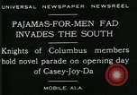 Image of Men wearing pajamas march in Casey Joy Da parade Mobile Alabama USA, 1929, second 5 stock footage video 65675035087
