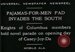 Image of Men wearing pajamas march in Casey Joy Da parade Mobile Alabama USA, 1929, second 6 stock footage video 65675035087