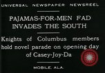 Image of Men wearing pajamas march in Casey Joy Da parade Mobile Alabama USA, 1929, second 7 stock footage video 65675035087