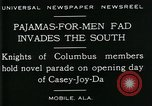 Image of Men wearing pajamas march in Casey Joy Da parade Mobile Alabama USA, 1929, second 8 stock footage video 65675035087