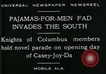 Image of Men wearing pajamas march in Casey Joy Da parade Mobile Alabama USA, 1929, second 9 stock footage video 65675035087