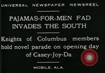 Image of Men wearing pajamas march in Casey Joy Da parade Mobile Alabama USA, 1929, second 10 stock footage video 65675035087