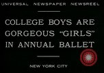 Image of college boys dressed as girls New York City USA, 1930, second 3 stock footage video 65675035092