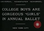 Image of college boys dressed as girls New York City USA, 1930, second 4 stock footage video 65675035092
