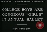 Image of college boys dressed as girls New York City USA, 1930, second 9 stock footage video 65675035092