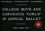 Image of college boys dressed as girls New York City USA, 1930, second 10 stock footage video 65675035092