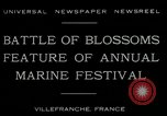 Image of Sea Battle of Flowers Villefranche France, 1930, second 7 stock footage video 65675035097