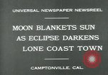 Image of eclipse Camptonville California USA, 1930, second 2 stock footage video 65675035107
