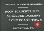 Image of eclipse Camptonville California USA, 1930, second 8 stock footage video 65675035107