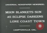 Image of eclipse Camptonville California USA, 1930, second 9 stock footage video 65675035107