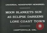 Image of eclipse Camptonville California USA, 1930, second 10 stock footage video 65675035107